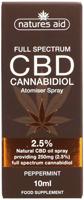 Nature's Aid CBD Peppermint Cannabidiol Atomiser Spray 2.5%
