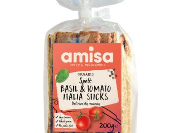 Amisa Spelt Basil & Tomato Italia Sticks Crispbread Organic