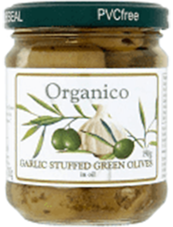 Organico Garlic Stuffed Green Olives In Oil