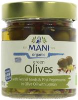 Mani Green Olives Fennel Seeds Peppercorns Olive Oil & Lemon Organic