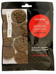Clearspring Brown Rice Crackers Black Sesame Organic