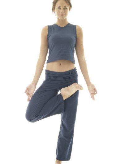 Ladies Fold Over Yoga Trousers ~ Organic Cotton