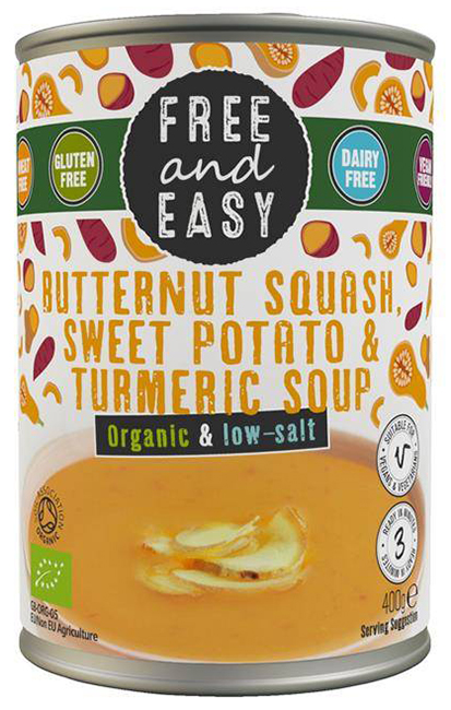 Free & Easy Butternut Squash Sweet Potato & Turmeric Soup Organic
