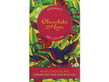 Chocolate & Love Caramelised Hazelnuts & Sea Salt Milk Chocolate Organic