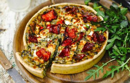 Spinach, Feta & Roasted Tomato Vegetarian Quiche
