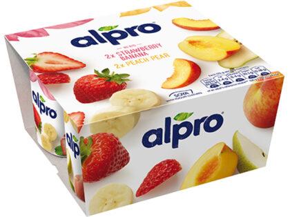 Alpro 2x Strawberry Banana & 2x Peach Pear Soya Yogurts