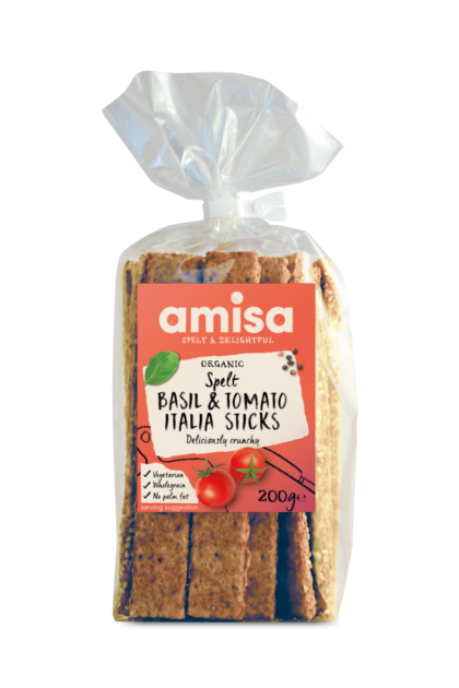 Amisa Basil Tomato Spelt Sticks Organic