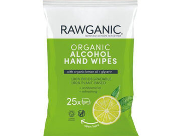 Rawganic Alcohol Hand Wipes Organic