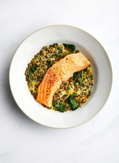 By Ruby Chalk Stream Trout with Braised Puy Lentils