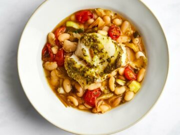 By Ruby Roasted Cod with Cannellini Beans